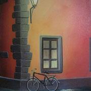 Klassische Malerei - Lasurtechnik, Fahrrad, Laterne, Thomas Klee
