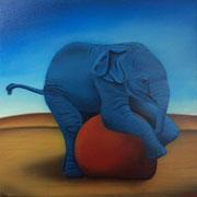 Klassische Malerei - Lasurtechnik, Der blaue Elefant, Roter Ball, Thomas KLee
