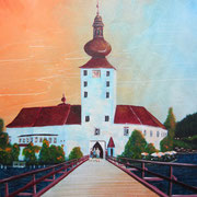 Acrylmalerei auf Leinen, 60x80cm, Seeschloss Ort bei Gmunden, Traunsee