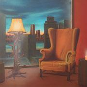 Klassische Malerei - Lasurtechnik, New York, Manhattan, Fauteuil, Ohrensessel, Stehlampe, Kerzen, Thomas Klee