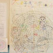 津田小学校の作品と今回作成した寄せ書き