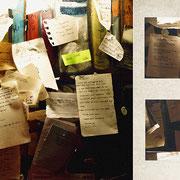 パリ「書店の壁」小さな古い刻印器が置いてある書店。ここに来るお客さんが、誰かにもしくは自分に、手紙や日記を書いて貼っている。