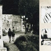 プラハ「奇跡の恋人たち」大胆な街の落書きに、It's miracleの文字。そこに通りかかる恋人たち。