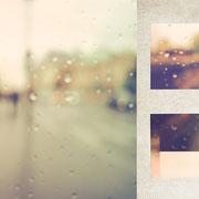 パリ「バス停のやさしい雨」彩度が低い雨のセーヌ川沿い。すこし煙るようなやさしい霧雨がバス停の壁を濡らしていた。