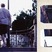 プラハ「夕暮れの川辺の」暮れていく時、手を固く結んで夜の散歩に向かう老夫婦。夫人のスカートの裾が軽やかだった。