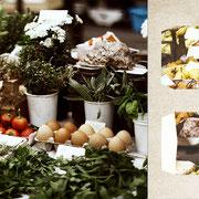 グラーツ「秋の実りの屋台」カイザヨゼフ市場の秋。トマトの赤、卵の肌色、草花の緑、梨の黄色。乾燥したきのこや薬草を売っていて、まるで魔女の屋台みたい。