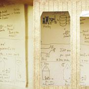 プラハ郊外「小さな子からのお手紙」大きなお家に一人で住んでいる女性に、大家さんの孫がお手紙をくれた。一緒に住んでいるネコさんとイヌさんのエサやりの順番を丁寧に説明している絵と心が可愛いらしい。