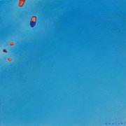 青に浮かぶ S3号   27.3×27.3cm アクリル・キャンバス