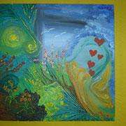 ein DUO MICO Werk, gemeinsam gemalt ... in Oel, auf Malplatte, 20 x 20cm