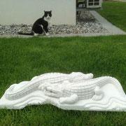 """hier mit Katze """"Sämi"""" Mai 2013, mein grosser Outdoor-Kunst-Freund, leider seit September 2014 vermisst, verstorben !?!"""