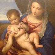 Tiziano Madonna delle rose Galleria degli Uffizi