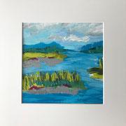 """Wandbild """"Erfrischend"""" - 32x32x3 cm - Acrylpapier (gerahmt und Passepartout)"""