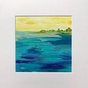 """""""One Day in Paradise"""" - 32x32x3 cm - Karton (gerahmt und Passepartout) - verkauft"""