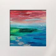 "Wandbild ""Himmelsfeuer"" - 32x32x3 cm - Acrylpapier (gerahmt und Passepartout) - verkauft"