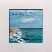 "Wandbild ""Brandung"" - 32x32x3 cm - Acrylpapier (gerahmt und Passepartout) - verkauft"
