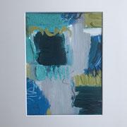 """""""Blue Meets Green"""" 30x40 cm _ Acrylpapier ( gerahmt und Passepartout)"""