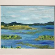 """Wandbild """"Silent Water"""" - 40x30 cm - Acrylpapier ( gerahmt und Passepartout)"""