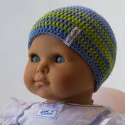 Jeansblau mit apfelgrünen Streifen, 1-3 Monate