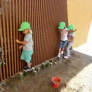 いちばん最初に作った竹のステップ。「みんながたくさんできるように長くしようよ!」と沢山竹を埋めました。