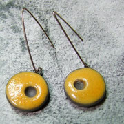 boucles d'oreilles céramique raku jaune