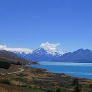 ... und Mount Cook (Aoraki), der höchste Berg auf der Südinsel von NZ (3.724m).