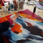 Acrylmalerei, Wischtechnik, Verlauftechnik