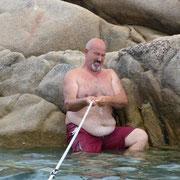 unser Capitano macht sein Boot fest