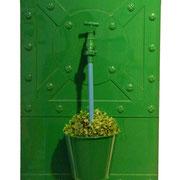 """""""L'arrosage du buis vert"""". Composition métallique. Collection privée."""