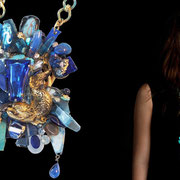 Michèle Jarry des Loges, Collection ' Bleu Lapis' Pectoral Necklace: Triton Bracelet: Anubis