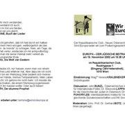 """Einladung zur Veranstaltung """"Europa - Der Jüdische Beitrag"""""""