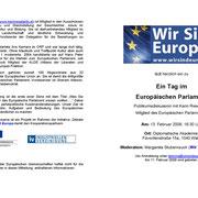 """Einladung zur Veranstaltung """"Ein Tag im Europäischen Parlament"""" - 13. Februar 2009"""