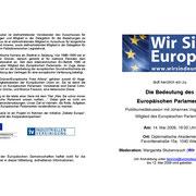 """Einladung zur Veranstaltung """"Die Bedeutung des Europäischen Parlaments"""""""