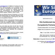 """Einladung zur Veranstaltung """"Wie funktioniert das Europäische Parlament?"""""""