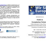 """Einladung zur Veranstaltung """"Poltik im Europäischen Parlament"""""""