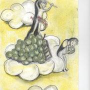 Weintraubenernte im Himmel