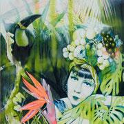 Junglelady III   120 cm x 100 cm   Eitempera, Acryl,  Öl auf Leinwand