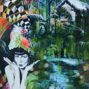 Junglelady IV   120 cm x 100 cm   Eitempera, Acryl, Öl auf Leinwand   SOLD
