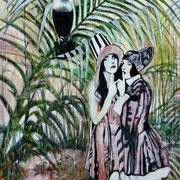 Junglelady I   120 cm x 100 cm   Eitempera, Öl auf Leinwand