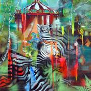 Hopeless Dressage   120 cm x 100 cm   Acryl, Öl auf Leinwand