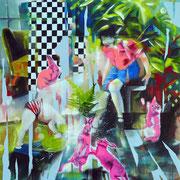 Pink Rabbit  140 cm x 120 cm   Acryl, Öl auf Leinwand