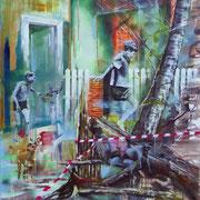 inside outside   140 cm x 120 cm  Acryl, Öl auf Leinwand