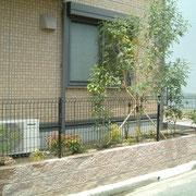 外構・エクステリア工事施工例 メッシュフェンス シマトネリコ植栽
