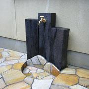 外構・エクステリア工事施工例 枕木による立水栓