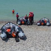Rettungsübung in Fécamp am Strand