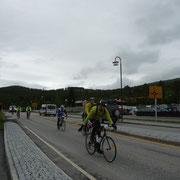 in Dombas ist eine Zwischenstation des Radrennens