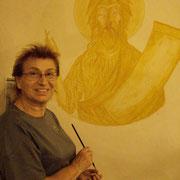 début de la fresque sur le mur