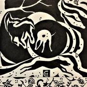 GESPIKKELD tekening op papier ingelijst