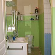 la salle de bains avec douche du Gite du Moulin - aux Gites des Camparros à Nailloux
