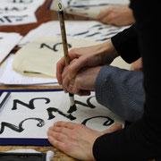 Stage du 24 février, Christian, très perséverant, s'exerce pour l'écriture des syllabaires