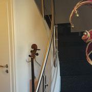 Edelstahl-Treppengeländer mit gebogenen Handlauf